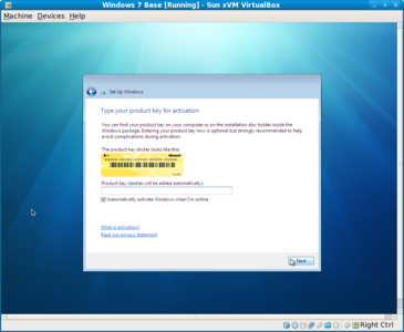 Windows 7 license key screen